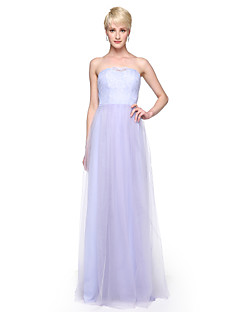Lanting Bride® Floor-length Lace Tulle Convertible Dress Bridesmaid Dress - Sheath / Column Strapless with Appliques Pleats