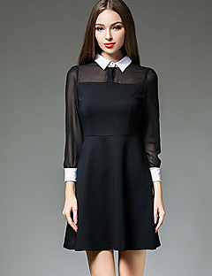 Women's Formal Work Sexy Sophisticated A Line Dress,Solid Mesh Shirt Collar Above Knee Long Sleeve Others Black Spring High Rise Inelastic