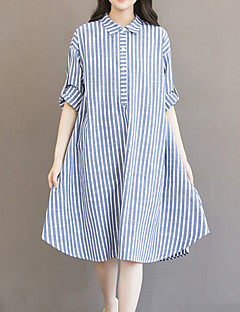 Women's Plus Size Going out Casual/Daily Vintage Simple Cute Loose Dress,Striped Shirt Collar Asymmetrical Long Sleeve Cotton Linen Blue