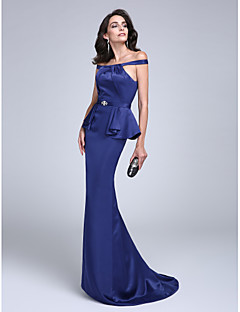 TS Couture Formal Evening Dress - Sexy Sheath / Column Off-the-shoulder Floor-length Charmeuse withRuffles Sash / Ribbon Criss Cross