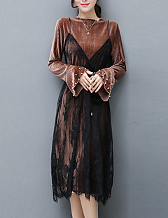 Women's Going out Street chic Sheath Dress,Patchwork Crew Neck Midi Long Sleeve Polyester Black Brown Green Spring Mid Rise Micro-elastic