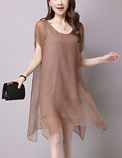 Women's Casual/Daily Street chic Loose Chiffon Dress Solid Mesh Asymmetrical False Two Short Sleeve Modal Black /Brown Summer Mid Rise