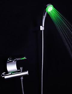 Moderne Badekar & Bruser LED Vandfald with  Keramik Ventil To Håndtag To huller for  Krom , Badekarshaner