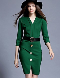 Women's Going out Holiday Sexy Bodycon Dress,Solid V Neck Above Knee ¾ Sleeve Cotton Polyester Black Green Spring High Rise Inelastic