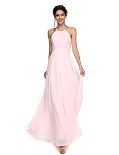 LAN TING BRIDE Floor-length Jewel Bridesmaid Dress - Open Back Sleeveless Lace Georgette
