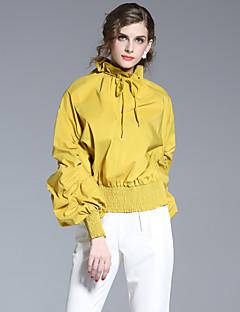 Feminino Camisa Social Casual Simples Verão,Sólido Amarelo Poliéster Decote Redondo Manga Longa