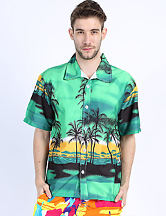 Men's Casual/Daily Beach Holiday Simple Boho Summer Shirt,Print Shirt Collar Short Sleeve Blue Green Cotton Rayon Thin
