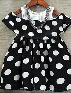 Girl's Beach Solid Polka Dot Dress,Cotton Summer Sleeveless