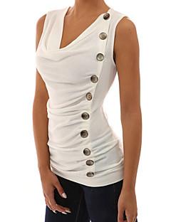 Feminino Camiseta Para Noite Casual Férias Sensual Simples Moda de Rua Primavera Verão,Sólido Branco Preto Cinza Poliéster ElastanoDecote
