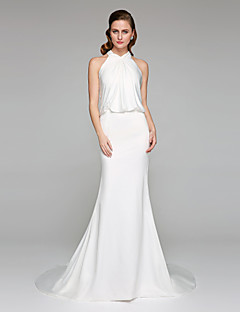 LAN TING BRIDE Trumpet / Mermaid Wedding Dress - Elegant & Luxurious Open Back Court Train High Neck Charmeuse with Criss-Cross