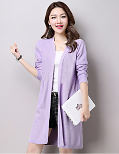 Women's Formal Simple Long Cardigan,Solid Pink Beige Black Gray Purple V Neck Long Sleeve Cotton Acrylic Spring Summer Thin Micro-elastic