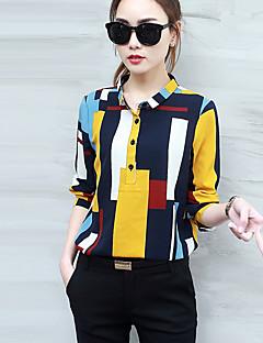 Women's Casual/Daily Street chic Spring Fall Shirt,Geometric Shirt Collar Long Sleeve Yellow Polyester Medium