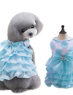 Собаки Платья смокинг Одежда для собак Лето Бант Милые Мода Желтый Синий Розовый
