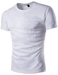 メンズ カジュアル/普段着 プラスサイズ 夏 Tシャツ,シンプル 活発的 ラウンドネック レタード コットン レーヨン 半袖 薄手