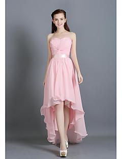 א-סימטרי שיפון נשרך שמלה לשושבינה  - גזרת A מחשוף לב עם תד נשפך סרט