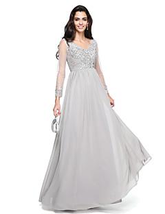 A-Şekilli V-Yaka Yere Kadar Şifon Balo Resmi Akşam Elbise ile Boncuklama Aplik Dantelalar tarafından TS Couture®