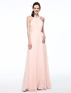 LAN TING BRIDE Floor-length Jewel Bridesmaid Dress - Elegant Sleeveless Chiffon