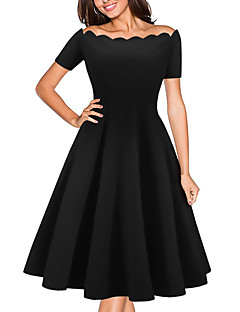 Women's Casual/Daily Formal Simple Sheath Dress,Solid Off Shoulder Above Knee Short Sleeve Polyester Red Black All Seasons Low Rise