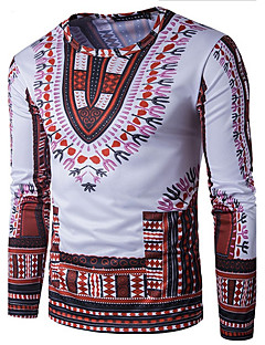Men's Sports Casual/Daily Simple Boho T-shirt,Print Sweetheart Long Sleeve Cotton
