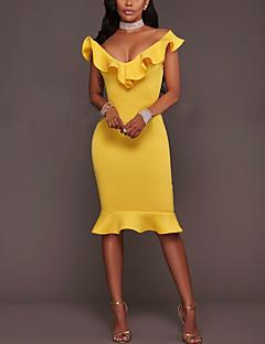 Moulante Robe Femme Sortie Décontracté / Quotidien Sexy simple,Couleur Pleine Col en V Mi-long Sans Manches Bleu Rose Jaune Polyester Eté