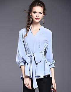 Women's Work Street chic Spring /Summer Fashion Slim Thin Blouse Solid V Neck 3/4 Sleeve Blue Polyester Medium