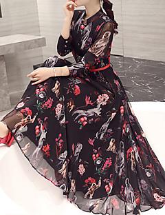 כל העונות קיץ פוליאסטר שרוול ארוך מקסי מידי צווארון עגול קצר משובץ פשוטה סגנון רחוב סגנון סיני ליציאה עבודה מידות גדולות שמלה ישרה סווינג