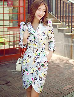 Damen Einfarbig Blumen Vintage Boho Anspruchsvoll Ausgehen Lässig/Alltäglich Urlaub Trench Coat,Hemdkragen Frühling Herbst Langarm Lang