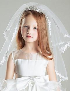 Véus de Noiva Duas Camadas Véus de Primeira Comunhão Tule