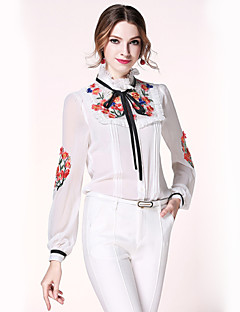 Damen Stickerei Einfach Lässig/Alltäglich Bluse,Ständer Frühling Langarm Baumwolle Polyester Dünn