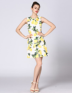 אביב קיץ כותנה פוליאסטר צהוב ללא שרוולים מעל הברך צווארון עגול דפוס חמוד ליציאה שמלה גזרת A נשים,גיזרה בינונית (אמצע) מיקרו-אלסטיבינוני