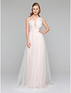 LAN TING BRIDE A-line Wedding Dress - Chic & Modern See-Through Court Train Bateau Tulle with Flower Sash / Ribbon Side-Draped