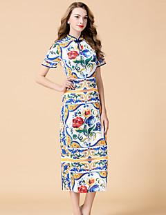 Hüvely Ruha Női Kínai Casual/hétköznapi Alkalmi,Virágos Állógallér Midi Rövid ujjú Fehér Selyem Tavaszi Nyári Közepes derekú