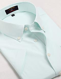 אנשיו של חולצה משובץ כותנה / פוליאסטר שרוול קצר יום יומי / עבודה / רשמי / ספורט כחול