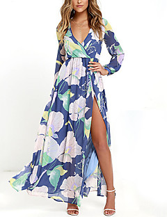Women's Casual/Daily Beach Party Sexy Vintage Street chic Loose Sheath Swing Dress,Floral V Neck Maxi Long Sleeve Multi-color