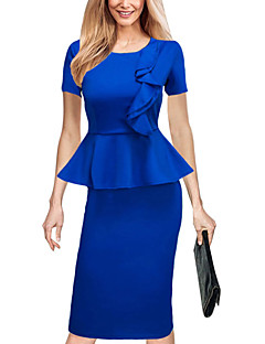 Women's Plus Size Going out Work Simple Street chic Slim Falbala Bodycon DressSolid Ruched Round Neck Knee-length Short Sleeve Spring