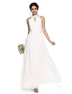 LAN TING BRIDE Longo Gola Alta Vestido de Madrinha - Elegante Sem Mangas Chiffon