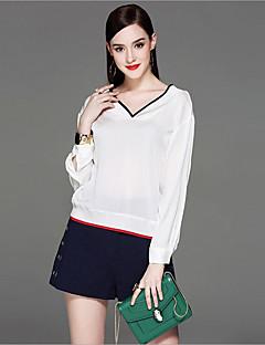 Mujer Bonito Chic de Calle Casual/Diario Playa Vacaciones Primavera Verano Camiseta,Escote en Pico Un Color Manga Larga Seda Fino