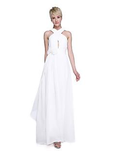 גזרת A עד הריצפה שיפון שמלה לשושבינה  עם פרח(ים) בד בהצלבה סלסולים על ידי LAN TING BRIDE®