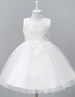 Ball Gown Knee Length Flower Girl Dress - Organza Sleeveless Jewel Neck with Lace