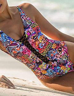 Women's Lace up|Plunging Bandeau One-piece,Floral Spandex Multi-color
