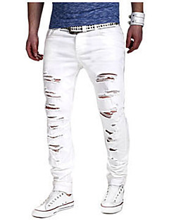 Men's Mid Rise Micro-elastic Jeans Chinos Pants,Simple Slim Ripped Solid