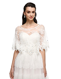 Women's Wrap Ponchos Tulle Wedding Party/Evening Lace Rhinestone