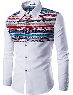 Men's Casual/Daily Simple Shirt,Print Shirt Collar Long Sleeve Cotton