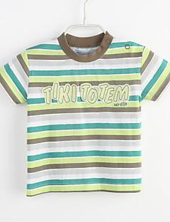 bebê Camiseta-Casual Color Block Listrado-Algodão-Verão-