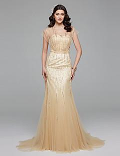 マーメイド/トランペットVネックスイープ/ブラシトレインチュールウェディングドレス