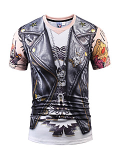 Men's Party Sports Casual/Daily Club Street chic Active Punk & Gothic T-shirt,Print Round Neck Short Sleeve Polyester