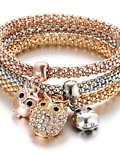 Women's Charm Bracelet Turkish Multi Layer Cute Style Personalized Costume Jewelry Fashion Rhinestone Animal Shape Owl Jewelry For Party