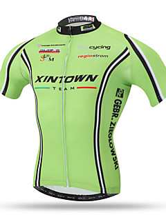 XINTOWN® Fluorescent Green Men's Short Sleeve Bike Breathable Quick Dry Back Pocket Sweat-wicking Comfortable Tops Terylene Summer Short Sleeve