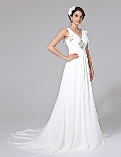 LAN TING BRIDE A-line Wedding Dress - Elegant & Luxurious Open Back Court Train V-neck Chiffon with Beading Side-Draped