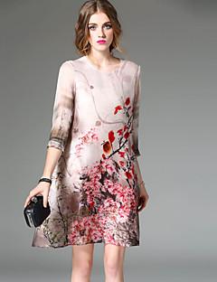 Damer Vintage I-byen-tøj A-linje Kjole Blomstret,Rund hals Over knæet 3/4 ærmelængde Silke Forår Sommer Alm. taljede Mikroelastisk Medium